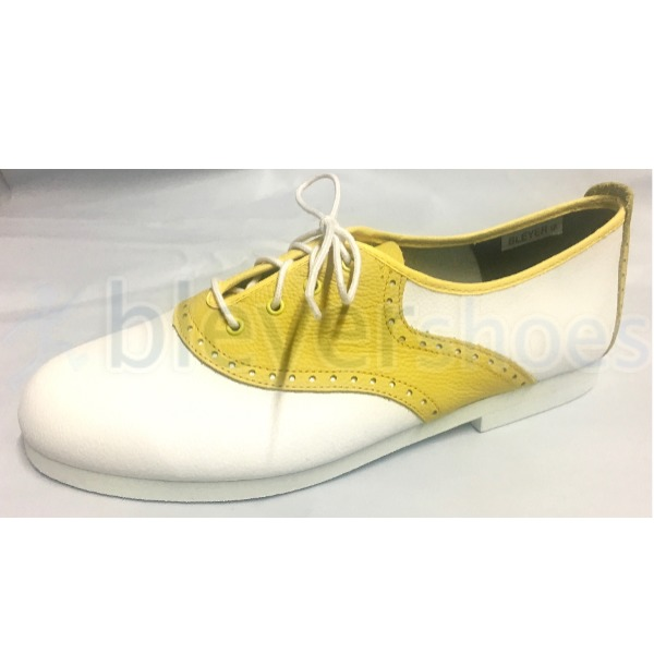 BS7139 Custom Bleyer Saddle in White with Yellow Saddle plus EVA sole and heel (white visible edge)
